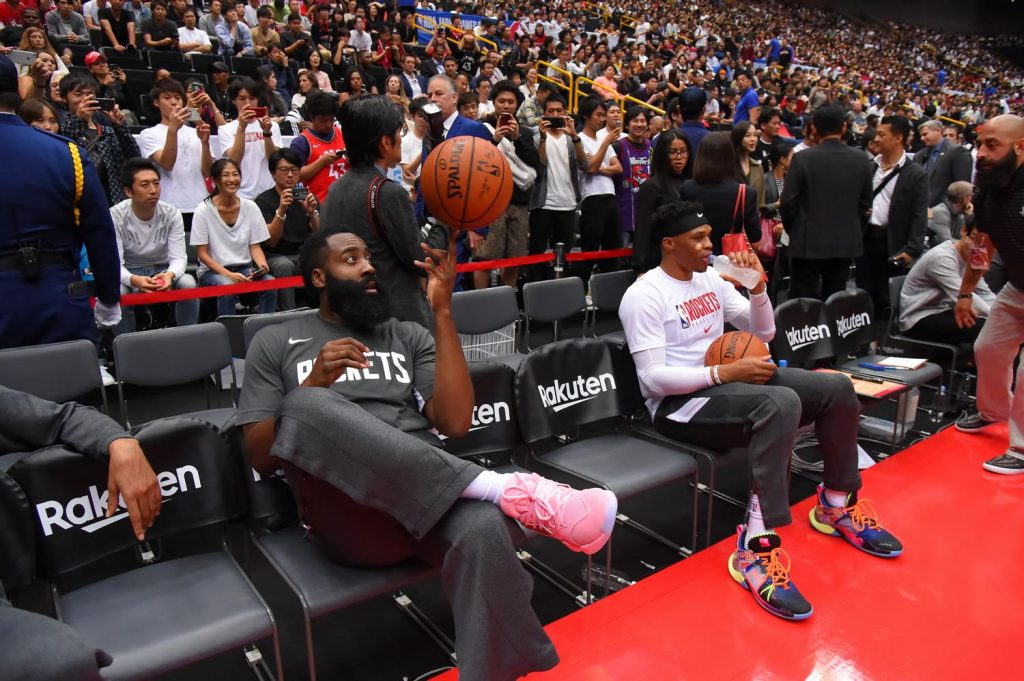 Harden's pink shoes stood out on the court, eventually making their way to two lucky fans in the crowd after the game.
