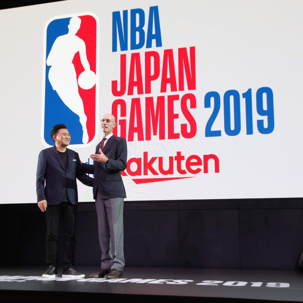 NBA Commissioner Adam Silver shares the importance of the games in Japan on stage with Rakuten CEO Mickey Mikitani.