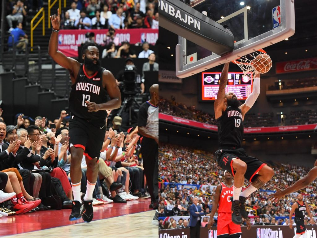 The Rockets' Harden and center Tyson Chandler in action.
