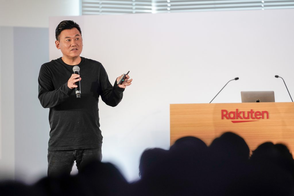 Rakuten CEO Mickey Mikitani on stage at last year's event.