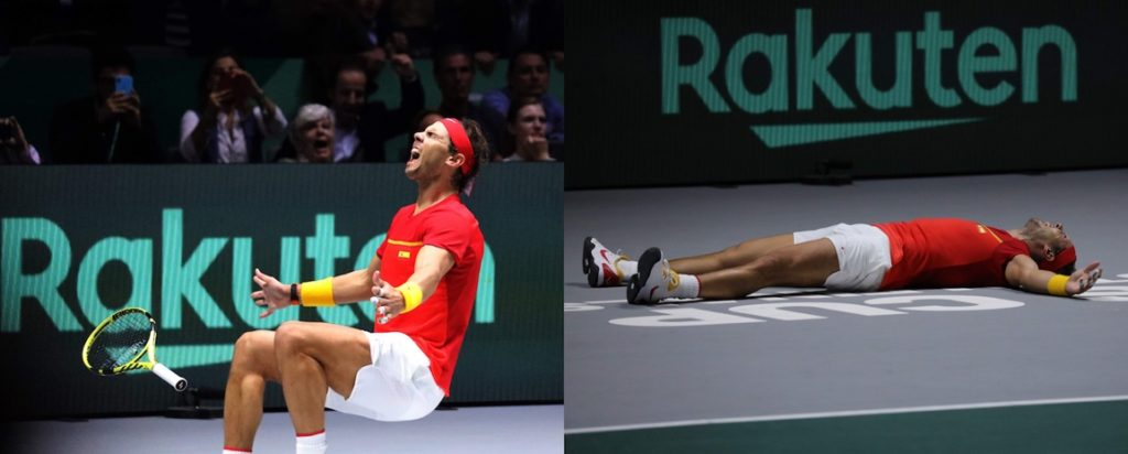 World number one Rafael Nadal celebrates after securing Spain's victory in the Davis Cup by Rakuten Finals.