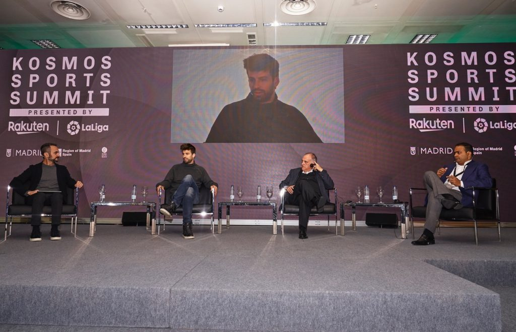 Rahul Kadavakolu (far right), sports business VP and global marketing supervisory department director at Rakuten, on stage with FC Barcelona star and Kosmos President & founder Gerard Pique (center left) and La Liga President Javier Tebas (center right) at the Kosmos Sports Summit.